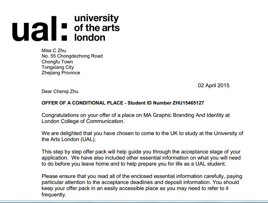 一举获得5所大学的录取通知书(offer),分别是英国的金斯顿大学,爱丁堡